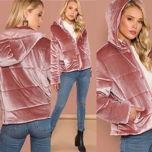 🆕blush velvet button front hooded winter jacket